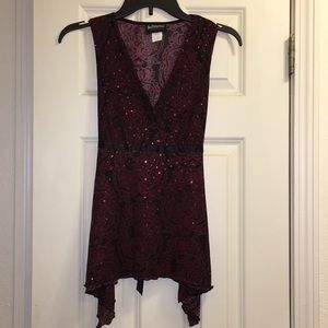 Sleeveless Maroon Blouse w/ Rose Sequins